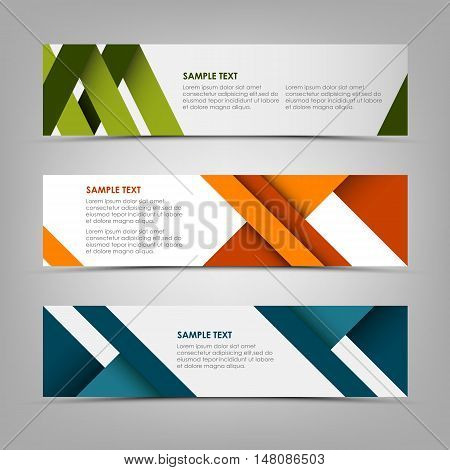 Horizontal banners with abstract colored stripes vector eps 10