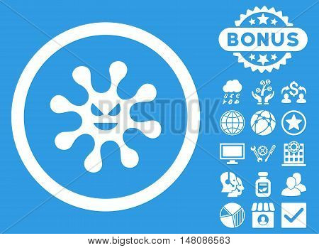Evil Bacteria icon with bonus design elements. Vector illustration style is flat iconic symbols white color blue background.