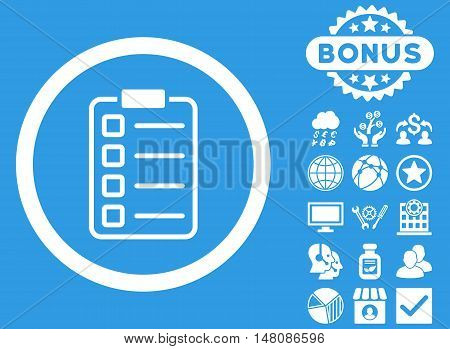 Examination icon with bonus pictures. Vector illustration style is flat iconic symbols white color blue background.