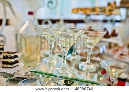 Wedding reception a glass of vermouth at wedding