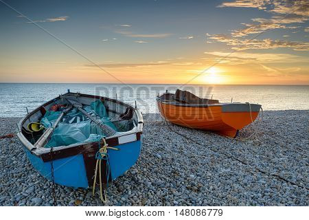 Fishing Boats on the beach at Chesil Cove in Dorset