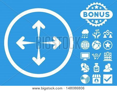 Expand Arrows icon with bonus design elements. Vector illustration style is flat iconic symbols white color blue background.