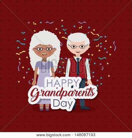 Couple of old man and woman icon.  Grandparents generation and family theme. Colorful design. Vector illustration