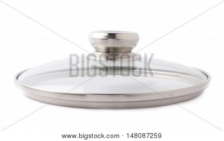Cap of stainless steel metal cooking pot pan over isolated white background