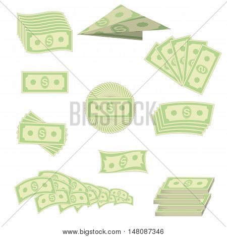 Set of Paper Dollars Isolated on White Background. American Banknotes. Cash Money. US Currency