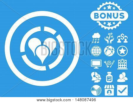 Geo Diagram icon with bonus design elements. Vector illustration style is flat iconic symbols white color blue background.