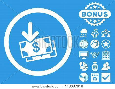 Get Banknotes icon with bonus pictures. Vector illustration style is flat iconic symbols white color blue background.