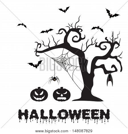 Spooky silhouette of Halloween tree, pumpkin, spider on web and bats. vector illustration for Halloween design, website, flier, invitation card