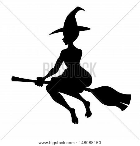 Witch on a broom, Vector black silhouette witch flying to the Sabbat