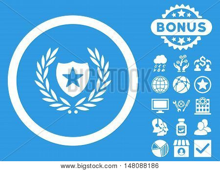 Glory Shield icon with bonus elements. Vector illustration style is flat iconic symbols white color blue background.