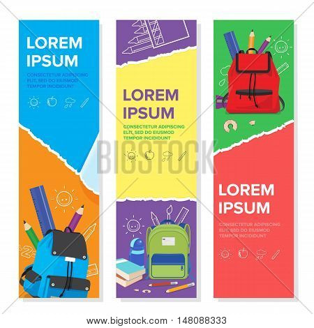 set of school kid banner template colorful school bags back to school concept vertical