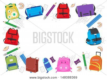 school kids frame vector illustration back to school.school bags on white background