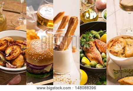 Collage of different pictures of natural food in rustic style