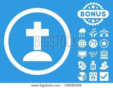 Grave icon with bonus elements. Vector illustration style is flat iconic symbols white color blue background.