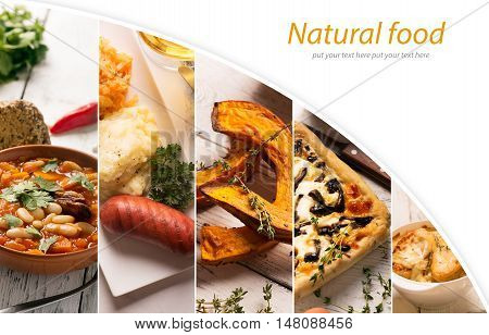 Collage of different pictures of natural food with copy space