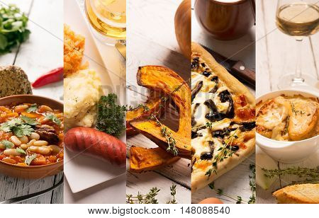 Collage of different pictures of organic food from international cuisines