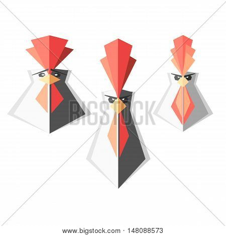 set of logos with roosters, rooster head , vector illustration of New year symbol 2017