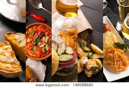Collage of different pictures of natural food on the black wooden table