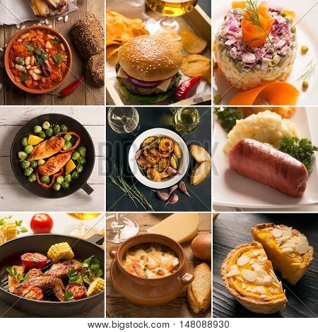 Collage of different pictures of natural food. Top and side view