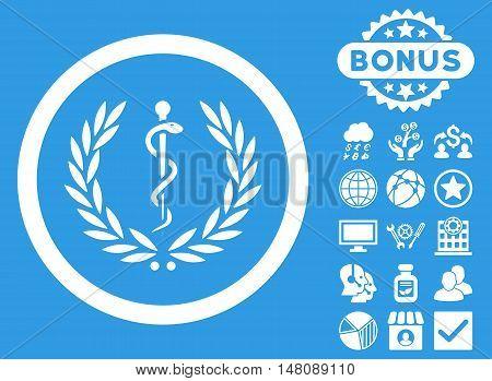 Health Care Emblem icon with bonus images. Vector illustration style is flat iconic symbols white color blue background.