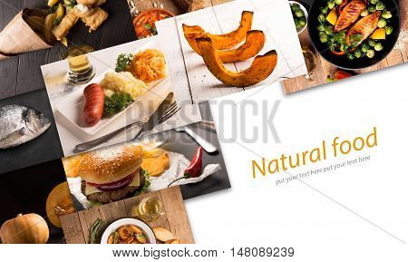 Collage of different pictures of natural food