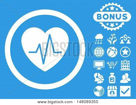 Heart Ekg icon with bonus images. Vector illustration style is flat iconic symbols white color blue background.