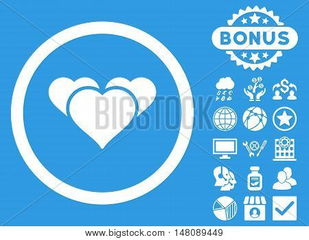 Heart Favourites icon with bonus pictures. Vector illustration style is flat iconic symbols white color blue background.