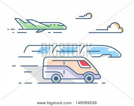 Air, road and rail transport in a linear style. Vector illustration