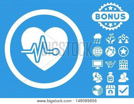 Heart Pulse icon with bonus symbols. Vector illustration style is flat iconic symbols white color blue background.