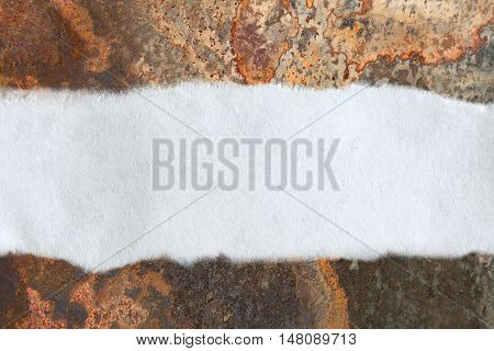 Piece Of Paper On Rusty Background