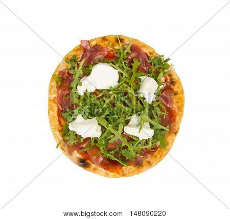 Pizza with  arugula, bacon, tenderloin, tomato and mayonnaise. Pizza on a white background.