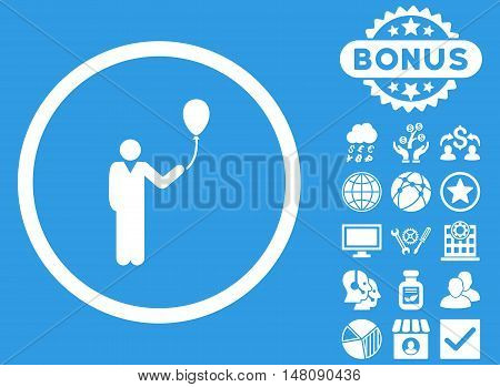Holiday icon with bonus design elements. Vector illustration style is flat iconic symbols white color blue background.