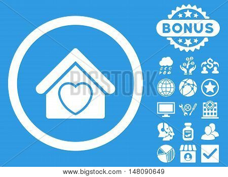 Hospice icon with bonus pictogram. Vector illustration style is flat iconic symbols white color blue background.