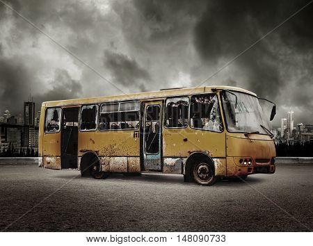 Broken Bus On View Of City In Stormy Sky