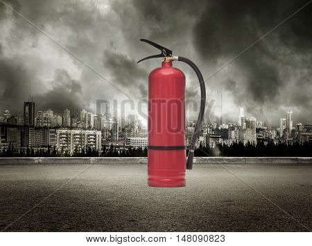 Fire Extinguisher On View Of City In Stormy Sky
