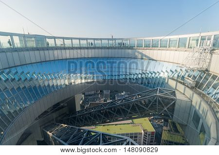 OSAKA JAPAN - AUG 09 : Umeda Sky Building Floating Garden Observatory on Aug 09 2016. Umeda Sky Building is the twelfth tallest building and one of the most recognisable landmarks in Osaka.