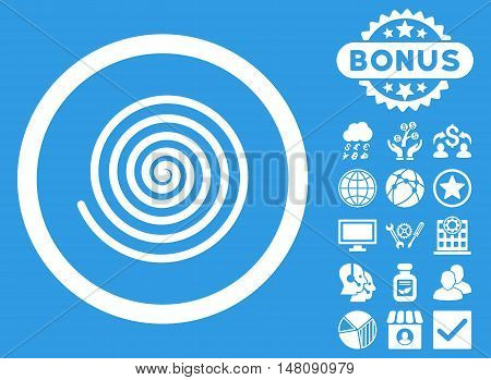 Hypnosis icon with bonus design elements. Vector illustration style is flat iconic symbols white color blue background.