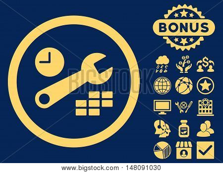Date and Time Configuration icon with bonus pictures. Vector illustration style is flat iconic symbols yellow color blue background.