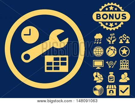 Date and Time Setup icon with bonus pictures. Vector illustration style is flat iconic symbols yellow color blue background.
