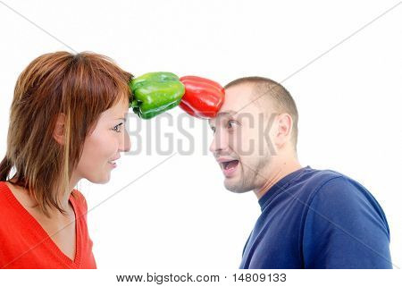 romance with healthy couple and peppers