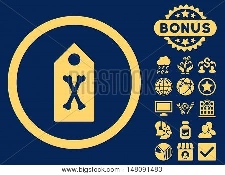 Dead Marker icon with bonus design elements. Vector illustration style is flat iconic symbols yellow color blue background.