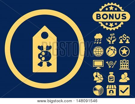 Death Label icon with bonus symbols. Vector illustration style is flat iconic symbols yellow color blue background.