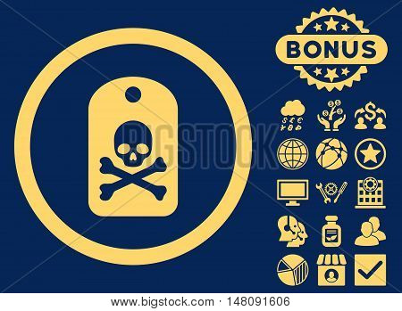 Death Sticker icon with bonus images. Vector illustration style is flat iconic symbols yellow color blue background.