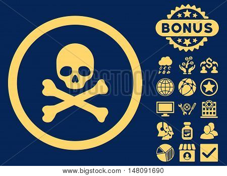 Death icon with bonus design elements. Vector illustration style is flat iconic symbols yellow color blue background.