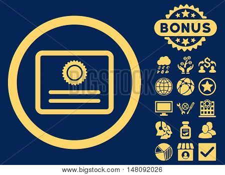 Diploma icon with bonus elements. Vector illustration style is flat iconic symbols yellow color blue background.