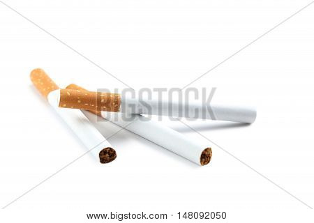 Tobacco cigarettes isolated on a white, close up
