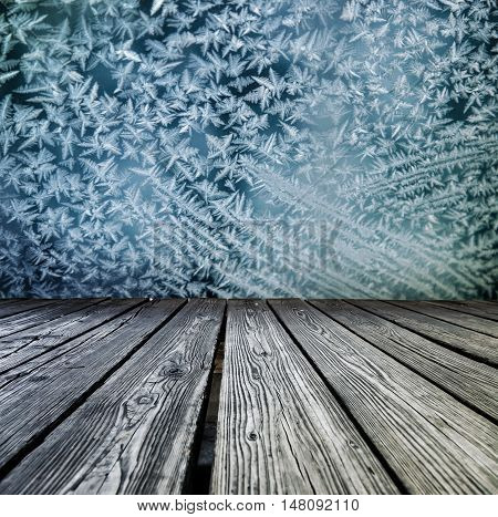 Rostrum Made Of Wooden Planks On Snowflakes