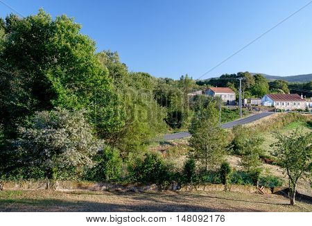 Landscape of a village along the road in Galicia northern Spain