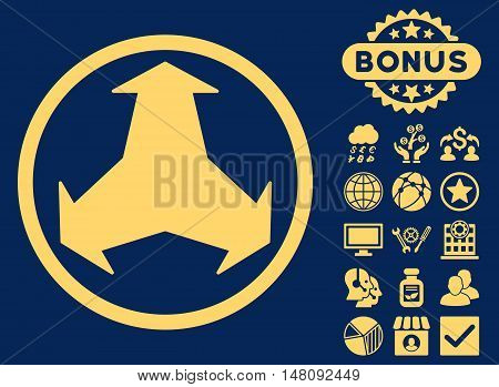 Directions icon with bonus pictures. Vector illustration style is flat iconic symbols yellow color blue background.