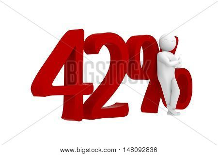 3D Human Leans Against A Red 42%